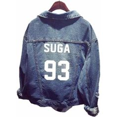 SERAPHY Unisex BTS Jacket Chaqueta Jeans Coat For Army BTS Kpop... (£17) ❤ liked on Polyvore featuring outerwear, coats, blue coat and army coats