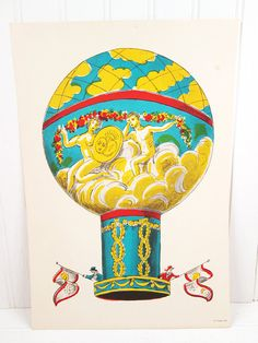 Vintage Print Hot Air Balloon Illustrated Color by vintagegoodness, $14.95