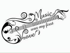 Music was my first love. music tattoo idea shaped as a guitar/bass, Tattoo, Music was my first love. music tattoo idea shaped as a guitar/bass. Tatoo Musical, Love Music Tattoo, Music Tattoo Designs, Music Tattoos, Body Art Tattoos, New Tattoos, Cool Tattoos, Tatoos, Music Symbol Tattoo