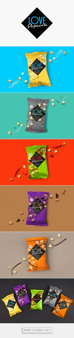 Love Popcorn by Robot Food. Source: Packaging Design Served. Pin curated by #SFields99 #packaging #design