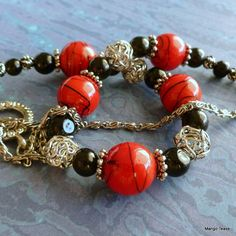 Ibiza Necklace  Red Black Silver Beads by MangoTease on Etsy $24.00