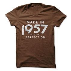 Made In 1957 Aged To Perfection - #tshirt blanket #tshirt serigraphy. MORE ITEMS => https://www.sunfrog.com/Birth-Years/Made-In-1957-Aged-To-Perfection-7769543-Guys.html?68278