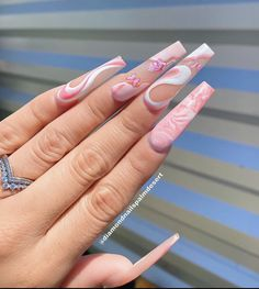 Acrylic Nails Coffin Pink, Long Square Acrylic Nails, Summer Acrylic Nails, Coffin Nails, Pastel Nails, Square Nails, Pink Nails, Edgy Nails, Stylish Nails