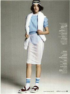 Stripe Calf-High Socks in L'Express Magazine, France. #AmericanApparel