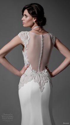 jillian 2017 bridal cap sleeves sweetheart plunging neckline heavily embellished bodice elegant sheath wedding dress sheer back chapel train (marylin) zbv