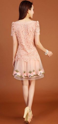 Lace Splicing Sweet Style Polyester Scoop Neck Short Sleeves Women's Dress