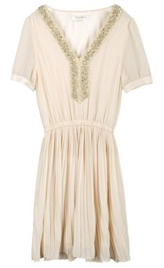 Pink Chiffon Puff Sleeve Sequined Embellished Pleated Dress