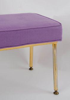 1960's Upholstered Brass Stool - Furniture –Valerie Wade