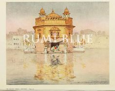 Archival quality 6 x 8 print The famed Golden Temple of Amritsar was the subject of this illustration by Gilded Age artist, Mortimer Menpes. Monuments, Golden Temple Amritsar, Guru Pics, Historical Art, Diy Canvas Art, Watercolor Paintings, Watercolour, Illustration Art, Harmandir Sahib