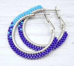 Fading Blues Beaded Hoop Earrings - Small Blue Beaded Hoop Earrings - Blue Hoop Earrings - Jewelry Gift for Her