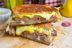 Cuban Grilled Cheese Sandwich Marilyn, leave off the ham slices...