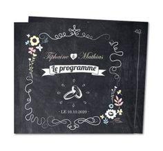 Un programme de mariage ardoise avec des petits pictos blancs pour rappeler à vos invités l'organisation de la journée de votre mariage. Planet-cards.com