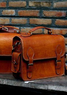 Handmade Genuine Leather Briefcase, Laptop Bag, Messenger Shoulder Bags