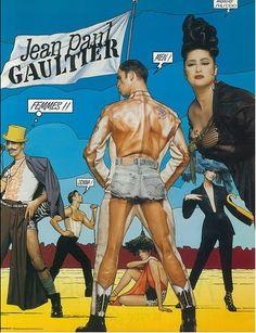 1992 - Jean Paul Gaultier adv Saul Bass, I Like Him, Dolly Fashion, High Fashion, Denim Corset, French Man, Men's Briefs, Celebrity Portraits, Fashion Graphic