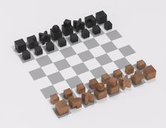 Chess Set, Josef Hartwig (German, 1880-1955). 1924. Pear wood, natural and stained black. Manufactured by Bauhaus, Weimar.