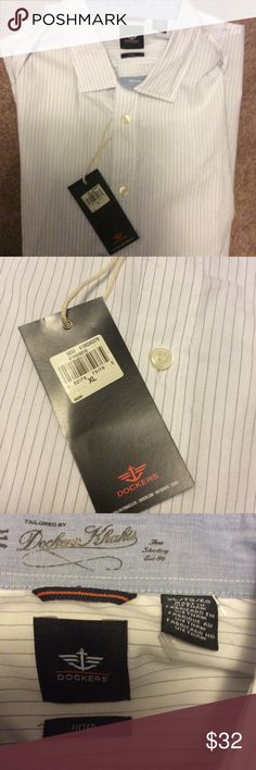 NWT Dockers Fitted Long Sleeve Striped Shirt FINAL NWT Dockers size XLarge men's shirt.  This is a fitted shirt.  Long sleeve.  Button down collar.  Light blue gray stripe. Dockers Shirts Dress Shirts