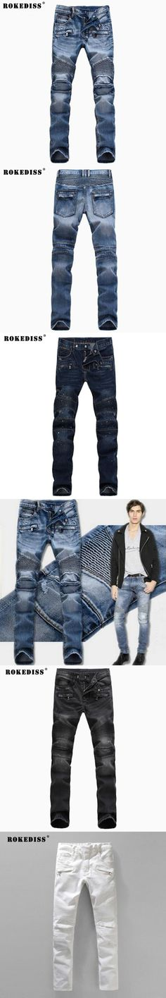 Men's Fashion Brand Designer Ripped Biker Jeans Men Distressed Moto Denim Joggers Washed Pleated Jean Pants Black Blue TC134