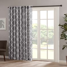Madison Park Saratoga Panel Fretwork Print Patio Window Curtain in Grey - Olliix a casual and stylish update, our Madison Park Saratoga Fret Print Patio Panel is the perfect addition to any decor. This patio panel features a trendy soft b Glass Door Curtains, Sliding Door Curtains, Patio Door Curtains, Sliding Door Window Treatments, Curtain For Door Window, Sliding Patio Doors, Drapes Curtains, Patio Door Coverings, Curtains For French Doors