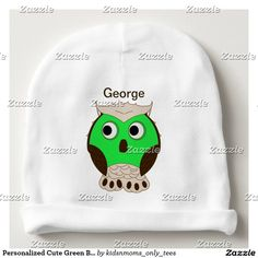 Personalized Cute Green Brown Cartoon Animal Owl Baby Beanie