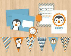 Penguin Birthday Party Set with invitations by ankepankedesigns