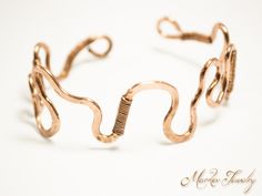 Squiggle Cuff Bracelet: Handcrafted, OOAK handcrafted jewelry, adjustable copper cuff bracelet (010)