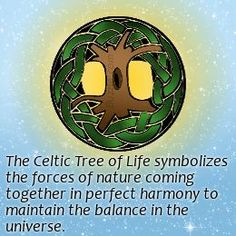 The Celtic tree of life represents the concept of forces of nature that converge to create harmony. Description from buzzle.com. I searched for this on bing.com/images