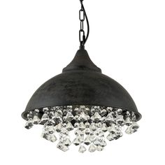 Journee Home Juxtaposition 15 In Hard Wired Iron Dangling Crystal Pendant Lamp Black