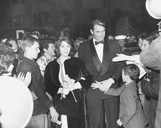Gregory Peck with wife Veronique at the premier of To Kill a Mockingbird (1962).