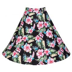 would look great with my pink toucan card, should wait until it fits well though! Disney Inspired Fashion, Vintage Inspired Fashion, Rockabilly Pin Up, Tropical Fashion, Hawaiian Tiki, Swing Skirt, Pin Up Style, Vintage Skirt, Hibiscus