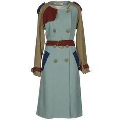 Tata-naka Overcoat (4 460 PLN) ❤ liked on Polyvore featuring outerwear, coats, sky blue, long sleeve coat, green coat, over coat, sky blue coat and double breasted overcoat