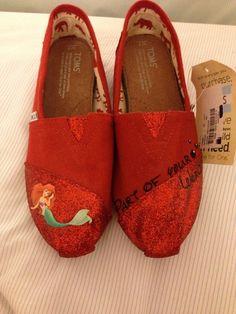 CUSTOM HAND PAINTED TOMS. Little Mermaid/ Ariel Toms With Disney Quote @Hannah Mestel Ferguson