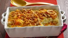 Potluck potatoes for a crowd! Topped with crunchy onions and layered with cheese, this dish is ready in just 30 minutes.