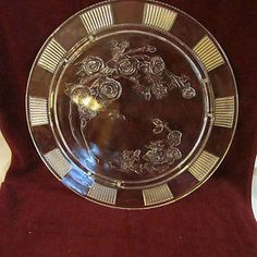 """Vintage 11.5"""" Round Footed Cake Plate Stand Clear Heavy Glass Embossed Floral"""