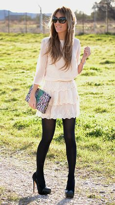 White dress, navy/black tights, black heels and a bold clutch