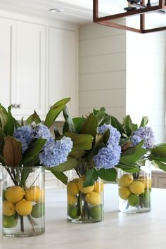 Citrus and Hydrangea Centerpiece- Love these lemons and limes in the vase! Perfect for spring! This Hydrangea Flower Arrangement just screams summer! Perfect way to use all of those hydrangea cuttings this summer with magnolia stems and citrus. Spring Home Decor, Diy Home Decor, Spring Kitchen Decor, Decorating For Spring, Decorating With Vases, Summer House Decor, Home Craft Ideas, Decorating Ideas, Diy Décoration