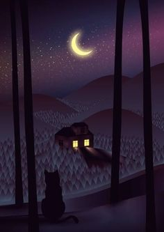 """""""I live in Vilnius, Lithuania and studied graphic design, but after school I decided to work in illustration and fine art. I love illustration. Nocturne, Good Night Moon, Night Time, Moon Magic, Sun And Stars, Beautiful Moon, Moon Art, Belle Photo, Night Skies"""