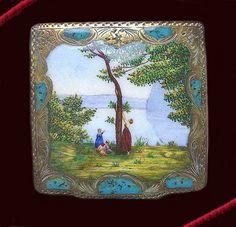 Italian silver enamel compact Souvenir De Mortefontaine   Flickr - Photo Sharing!