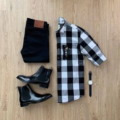 Always dress to impress. You never know who you will meet today. Featured is the Essential Shirt (Black Crisp Check) and Chelsea Boots. Please rate this outfit below ⤵️ . Stylish Mens Outfits, Casual Outfits, Men Casual, Fashion Outfits, Basic Outfits, Cochella Outfits, Boujee Outfits, Casual Styles, Casual Attire