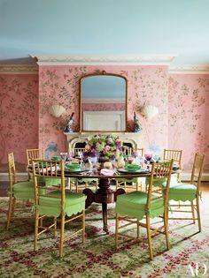 A hand-painted wallpaper by Haleh Atabeigi and a Stark carpet bring a garden…