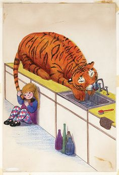 "Original artwork from The Tiger Who Came to Tea: When Judith Kerr first met the children's books editors who would go on to publish The Tiger Who Came to Tea, 'They said they liked the book but had certain reservations. The general layout was wrong - the pictures were all squashed together ... And that business about the tiger drinking all the water in the tap... ""rather unrealistic,"" they said, which was odd in view of the rest of the story..' 