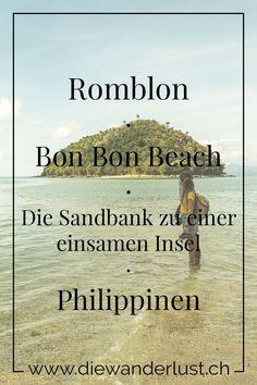 Bei Ebbe kannst du die einsame Insel über eine Sandbank erreichen. Der Bon Bon Beach bei Romblon auf den Philippinen. Tipps & Sehenswürdigkeiten findest du auf unserem Reiseblog. #bonbonbeach #romblon #philippinen #tipps #sehenswürdigkeiten #einsameinsel Parks, San Pedro, Asia, Movies, Movie Posters, Wanderlust, Travel, Beach, Diving School