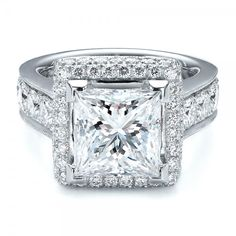Custom Princess Cut and Halo Engagement Ring   Joseph Jewelry Seattle Bellevue