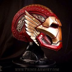 What would it look like if #TonyStark got trapped in #Asgard and had to work with the Asgardian smiths to build himself a new #IronMan suit? The answer looks something like this amazing leather helmet from the master craftsmen over at @princearmory. Sadly this one of a kind piece isn't for sale, so if you need us will be crying into our sad, plastic store-bought masks. #avengers #marvel
