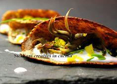 Mini crepes di grano saraceno con carciofi e mousse di Parmigiano Reggiano
