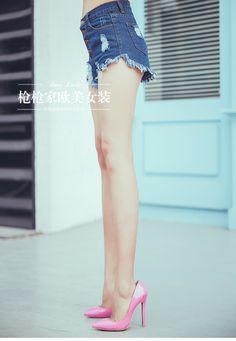 BOSSY LADY2016新品高腰不規則褲腳毛邊破洞包臀牛仔短褲熱褲女潮-淘宝网全球站
