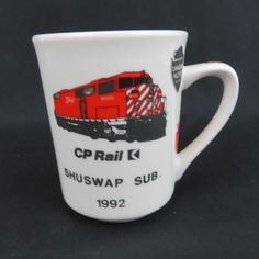 This cool Canadian Pacific coffee mug featuring the Shuswap Substation line, the GMD (General Motors Diesel) engine, Canadian Pacific shield logos, a caboose It holds 8 ounces of steaming coffee, tea or cocoa. Best Coffee Mugs, Large Coffee Mugs, Coffee Drinks, Coffee Cups, Tea Cups, The Red Green Show, Pacific Coffee, Black Canadians, Mug Cup