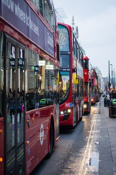 Oxford Circus, London, UK - You can wait for ages at the bus stop for a bus, and then five come along at once!!!