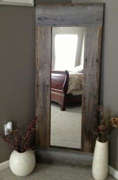 Full Length Barn Wood Mirror…easy DIY with cheap mirror and repurposed wood