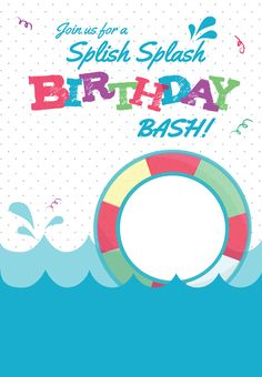 splish splash free printable summer party invitation template greetings island