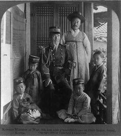 Korean Minister of War, his son and grandchildren - at their home, Seoul, Korea
